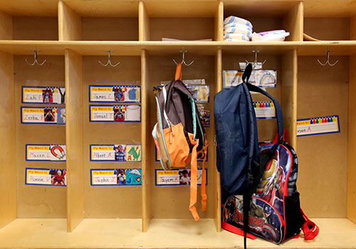 "Individual little ""lockers"" hold bookbags, unless of course it's field trip day."