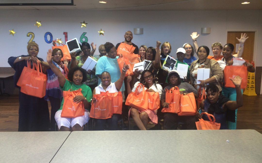 Head Start Site Administrators celebrate after receiving iPads from PNC