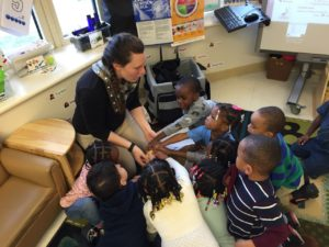 OSU's Kelly Parker talks to Head Start students about fruits, vegetables and healthy habits