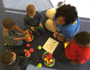 Head Start students learn about healthy eating during Mighty Tikes program