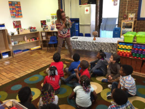 Robin Pease from Playhouse Square leads an interactive story at Buckeye Head Start
