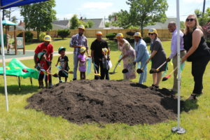 CEOGC families, leadership team, partners and community members break ground on the certified outdoor classroom