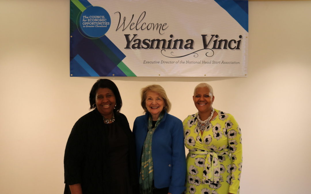 NHSA Exec. Dir. Yasmina Vinci (center) smiles with CEOGC Board President Kathryn Hall (left) and CEO Dr. Jacklyn Chisholm (left)